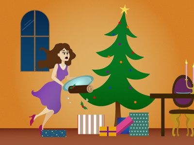 Merry Christmas ! girl night christmas illustration vector