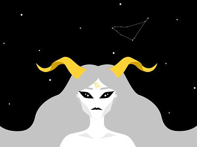Capricorn stars night astrology zodiac sign capricorn girl illustration