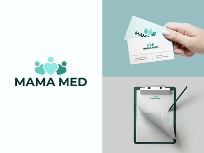MAMA MED medical center clipboard business card healthcare brand identity brand branding vector logo graphic  design design