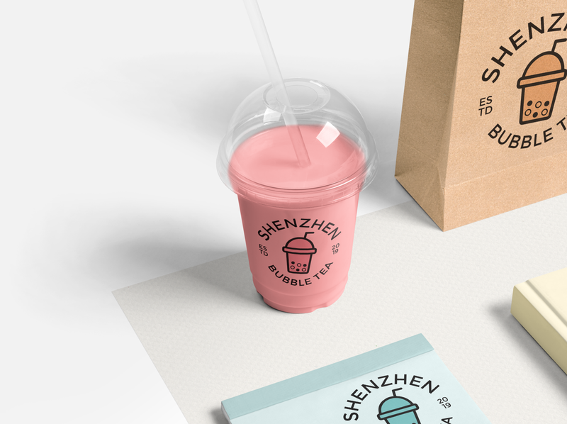 Shenzhen Bubble Tea identity branding identity design identity packaging mock up bubble tea beverage beverage packaging brand identity adobe photoshop brand branding logocore vector logo graphic  design design adobe illustrator