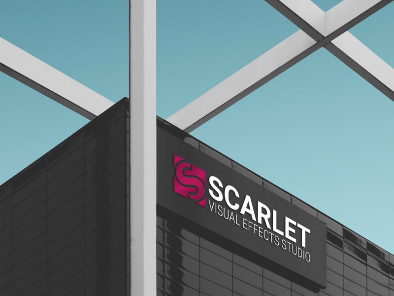 Scarlet Signage mockup raycast vfx visual effects signage design visual design studio brand identity adobe photoshop branding brand logocore vector logo graphic  design design adobe illustrator