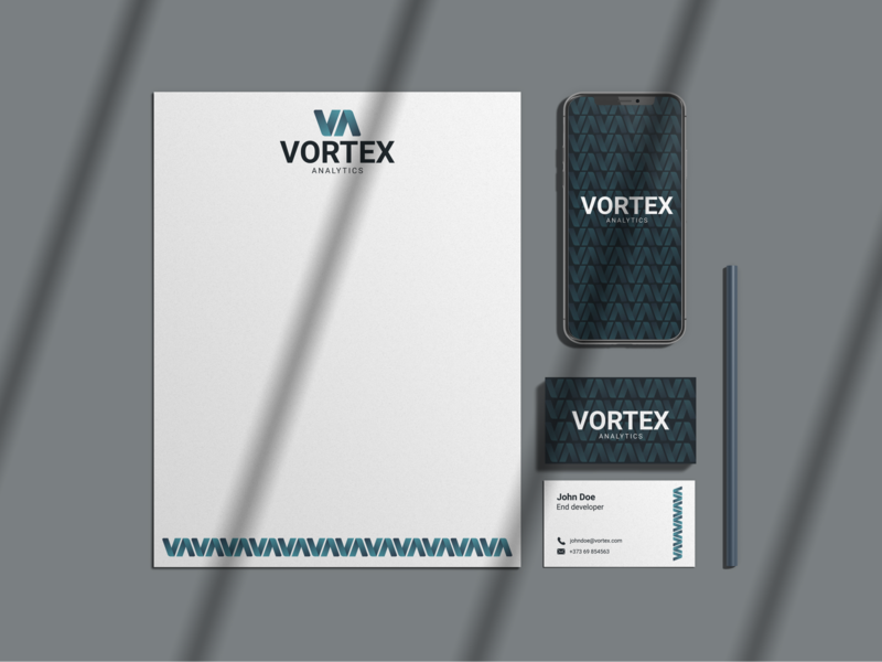 Vortex Analytics Stationary software analytics gradient monogram brand design adobe photoshop brand identity branding logocore vector logo graphic  design design adobe illustrator