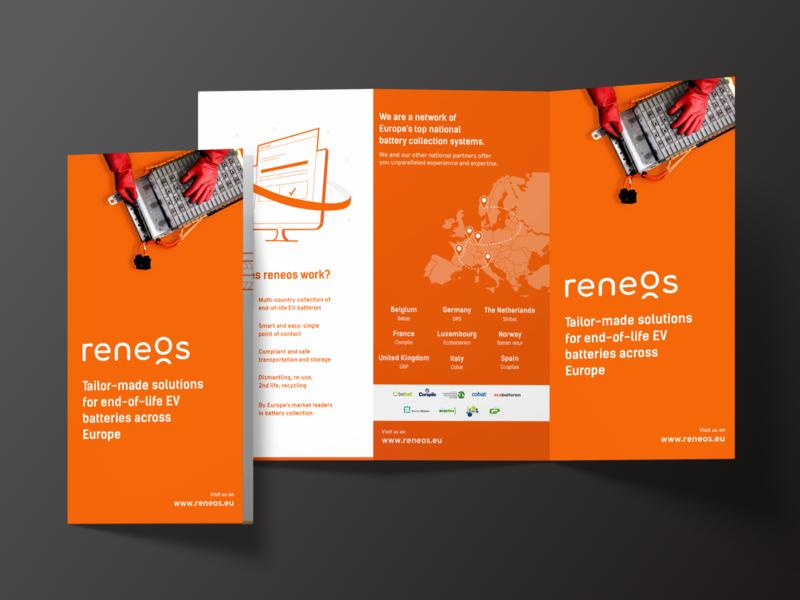 Flyer Reneos flyer artwork trifold paper graphic graphic design folder illustration print print design orange batteries flyer visual design