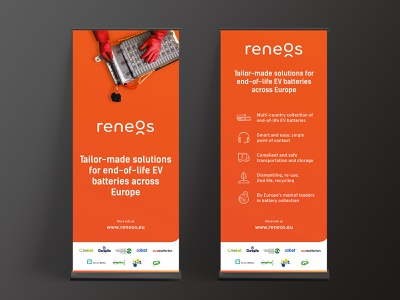 Roll up banner Reneos banners roll ups roll up banner design banner ads banner roll up banner branding logo paper orange gradient interaction design icons graphic design gradient design orange illustration graphic batteries