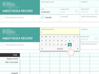 Touch Pad Anesthesia Record