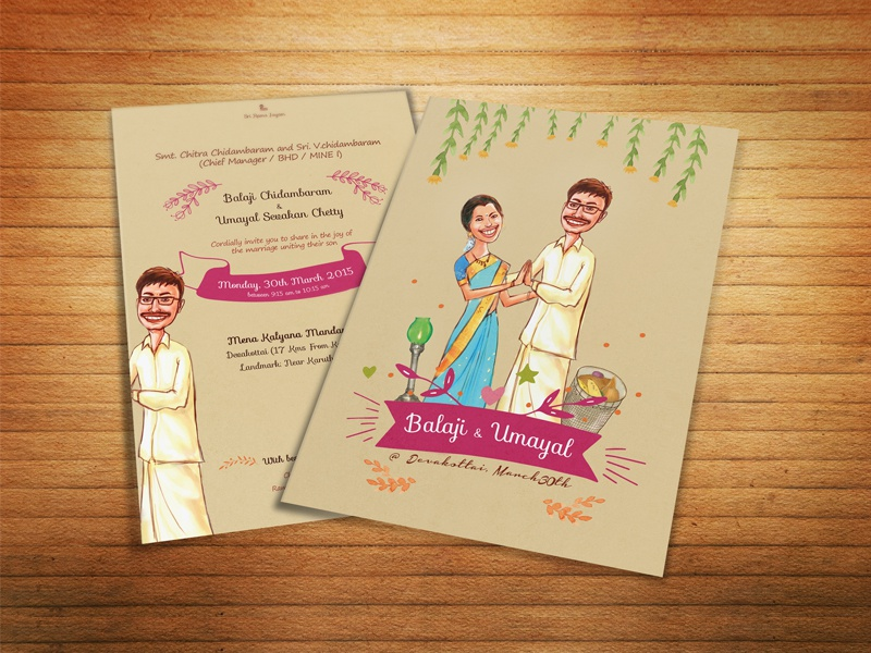 Illustrated Wedding Invitation By Sp Senthil Kumar