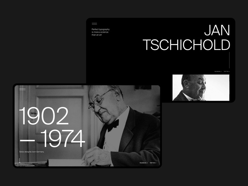 Jan Tschichold | Website typogaphy swiss date time years designer background ux ui desktop name ipad grid graphic design dark composition coloumn black biography