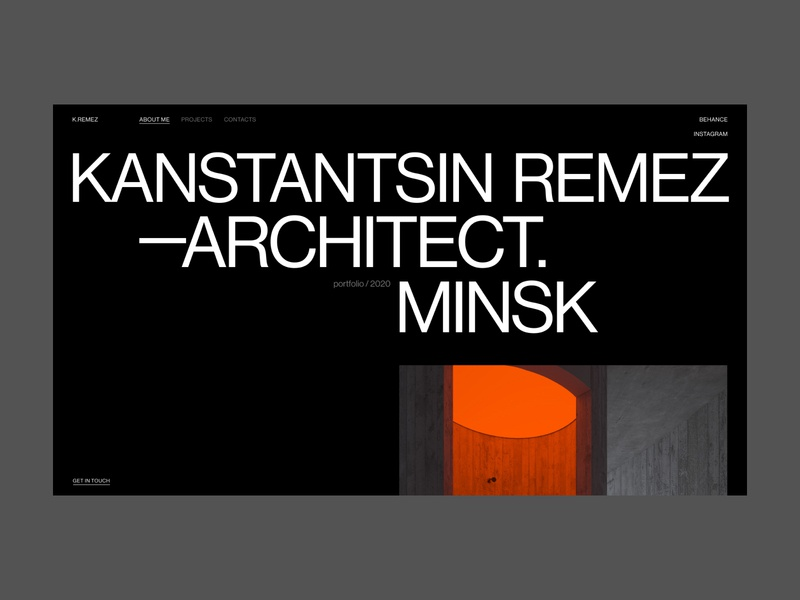 Kanstantsin Remez | Architector Page promo landing page about page about portfolio folio architector architect uxui ux typogaphy swiss name grid graphic design dark composition black biography