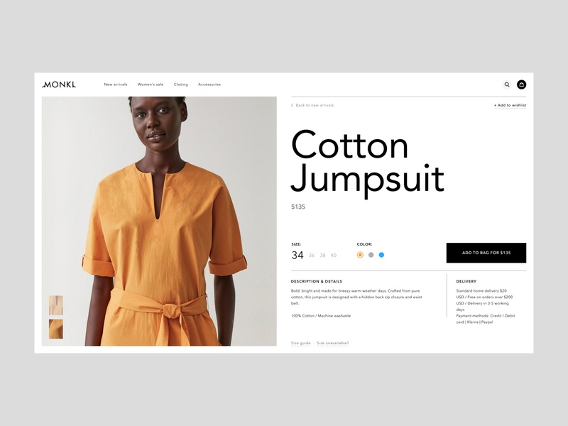 Cotton Jumpsuit Page goods page shop store e-commerce online store buying grey yellow online buy cart ui ux typogaphy swiss grid graphic design composition