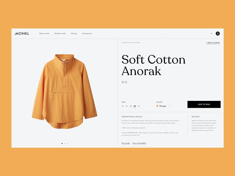 Soft Cotton Anorak V.2 yellow uiux ui typography swiss shop page store online shop online grid grey graphic goods e-commerce design composition cart buying buy