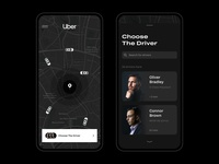 Uber Driver Searching ux ui grey black dark theme search location map main page iphone decision choice choose taxi booking app taxi app searching cars driver taxi uber