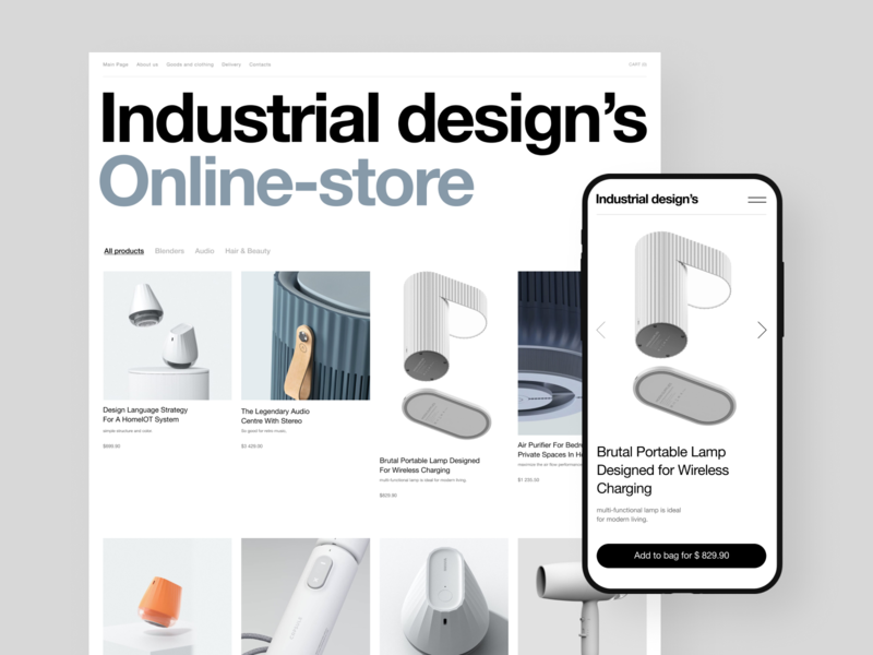 Industrial Design's Online-Store store app mobile e-commerce individual modern readymag white online store online cart biography typogaphy black ux ui graphic design composition swiss grid