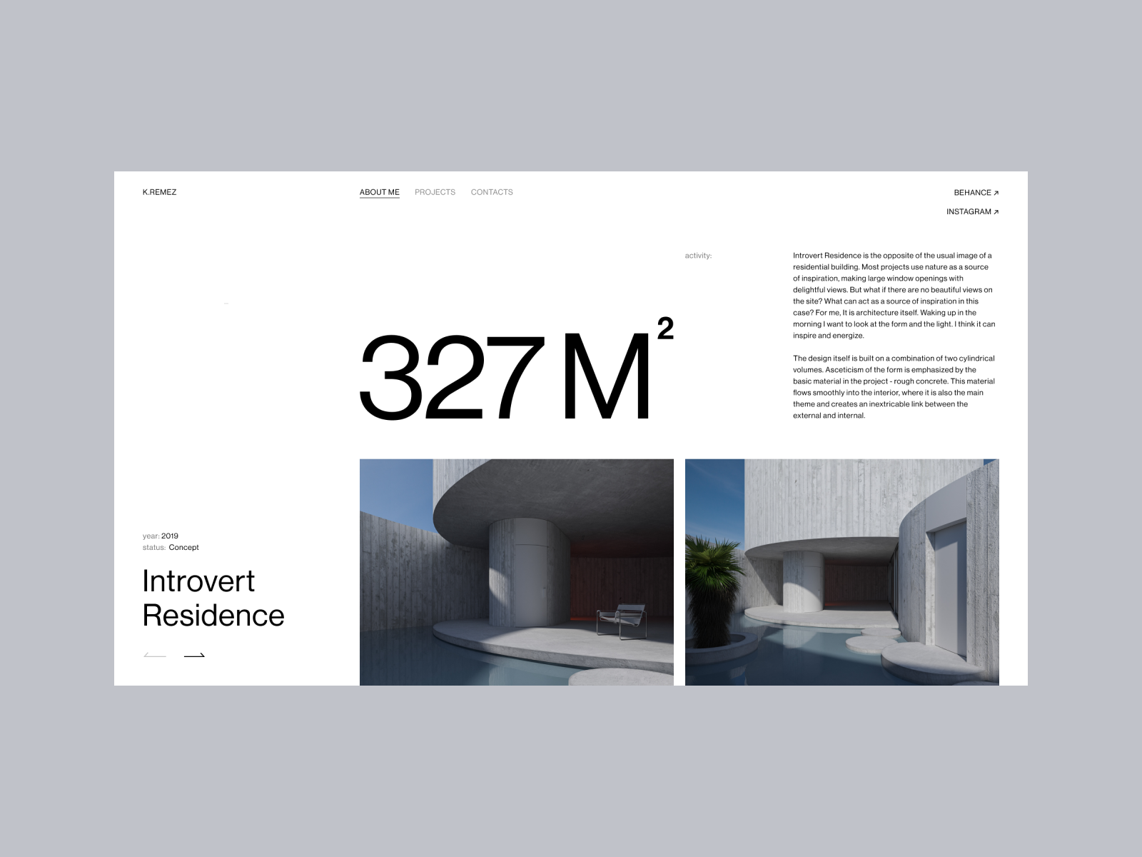 Introvert Residence Page coloumns art pictures photos gallery inner page page designs architecture interior numbers grey typogaphy ux ui graphic design composition swiss grid
