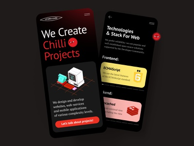 Chilly Code – Website for The Agency studio backend frontend agancy red logo yellow colors 3d logo create pepper red smile dark ios iphone mobile mobile app mobile ui black theme