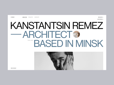 Kanstantsin Remez | Website For An Architect sketch infographic buildings interior art architect slider microinteraction motion after effects grey black typogaphy ux ui graphic design composition swiss grid