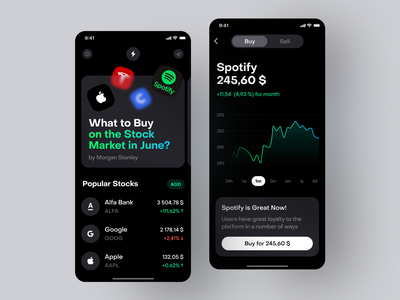 Investment Broker and Media composition green black dark glass blur crypto investing price media graphs apple spotify ux brands stock investment app mobile