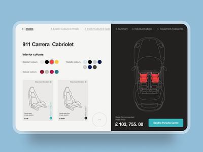 Porsche Car Configurator minimal design web illustration ui
