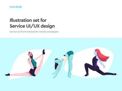 GreenBody 💚 | Illustration set web ui design branding illustration art illustration