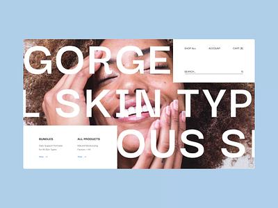 Skincare Cosmetics Website anomation motion branding typogaphy concept app ux ui flat minimal design clean ui