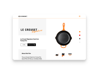 Le Creuset product page design brand design typography web design agency graphic design product page