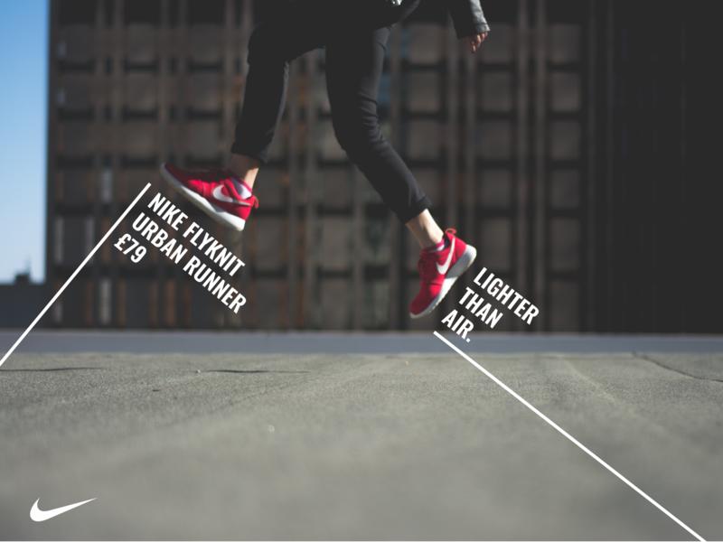 Nike footwear advert advert print design concept branding