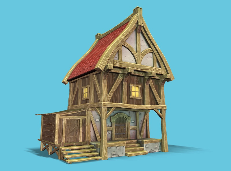 Stylized Medieval House 3d art model lowpoly 3d house medieval stylized