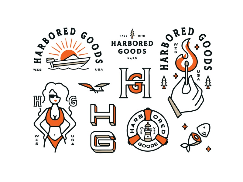 Harbored Goods Brand Elements outdoor logo outdoors wind brand identity fire water brand illustration bird brand clothing apparel logo apparel illustration logo design branding