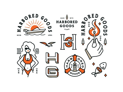 Harbored Goods Brand Elements outdoor logo outdoors wind brand identity fire water brand illustration bird brand clothing apparel logo apparel illustration logo design branding