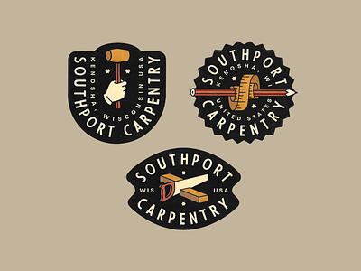 Southport Carpentry construction carpentry identity badge vector typography lettering illustration logo branding