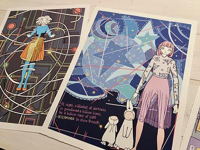 Giclee prints nerve pain chronic pain space pattern bunnies art and design irish illustration art digital printmaking giclee print
