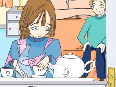 Colouring in boy girl colouring flat art teapot comic
