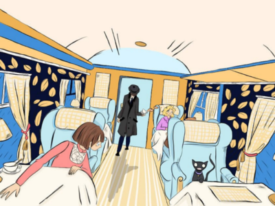 Train journey art flat bright comic color colour train colouring digital art