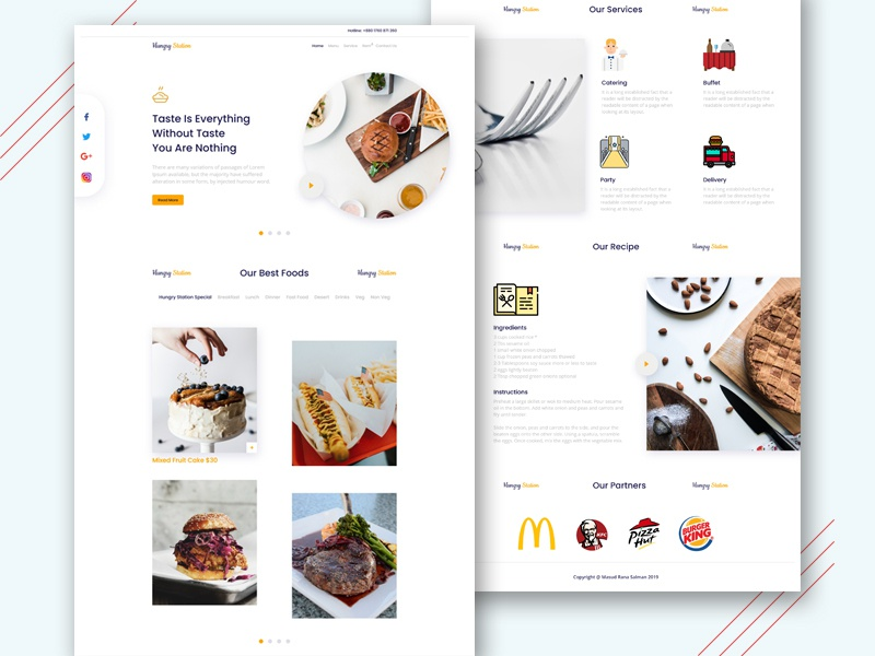 Restaurant Landing Page restaurant design web ui restaurant food design creative agency clean 2019 landing page creative  design