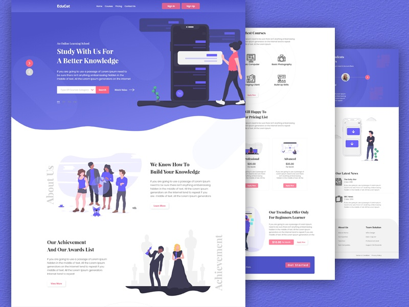 Education Landing Page online learning landing page education agency landing page education website 2019 web ui illustration creative  design landing page
