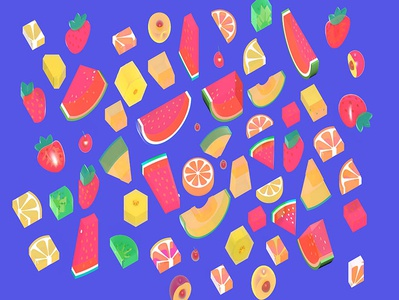 3d illustration of ixometric fruit