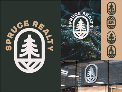 Spruce Realty real estate pine tree simple design simple logo icon logos outdoor logo outdoors tree forest green yellow typography iconography branding brand realty pine evergreen spruce