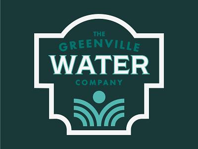 Greenville Water branding turqoise green badge design typography iconography badgedesign badge logo water logo watterbottle water sc south carolina greenvillesc greenville