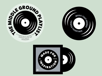 The Middle Ground Playlist player icon iconography typography branding illustration olive green music record vinyl playlist