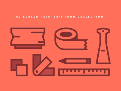 The Screen Printer's Icon Collection screen print orange pink tool icons tools branding red illustration iconography icon screenprinting screenprint screen printing