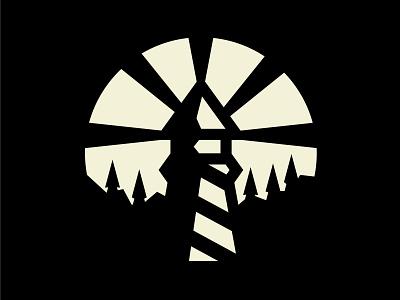 Lighthouse simplistic badgedesign badge badge design branding iconography branding agency illustration simple house logo cream black bright storm shore woods ocean house lighthouse light
