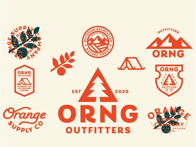 ORNG Outfitters 01 outdoor national park ranger fruits tents camping logo illustration caligraphy trees mountains orange outdoors green cream badge badge design typography iconography branding
