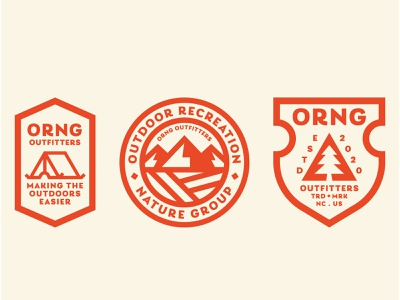 ORNG Outfitters 02 orange green cream badgedesign badge icon branding outfitters camping minimalistic simple iconography tent pine tree tree mountains outdoor badge badge logo badge design badge
