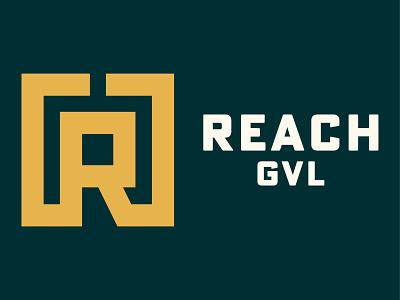 Reach GVL hand reaching handshake hands logo illustration orange green cream badge typography badge design iconography branding