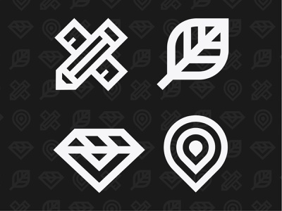 Middle Ground Core Values pattern gem diamond ruler pencil plant leaf direction gps pin icon orange badge typography badge design iconography branding