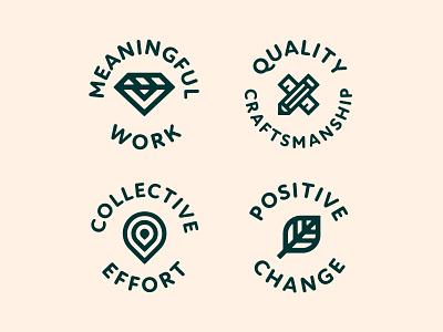 Middle Ground Branding Assets 5/6 logo illustration design cream orange badge typography badge design iconography branding