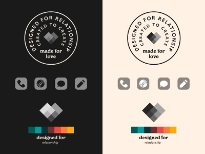 Designed for Relationship adobe fonts illustrayor logo icon relationship color cream badge typography badge design iconography branding