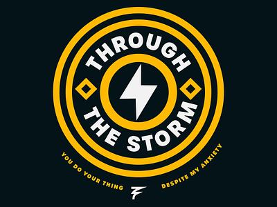 The Storm symbol iconography wind thunderbolt thunder lightning shape church christian white yellow flag circle blue typography logo simple badge design badge illustrator