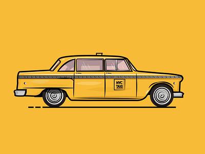 NYC Retro Taxi illustrator cc illustrators art board vector illustrator art illustration artist art flat design