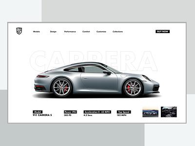 Porsche UI porsche porsche 911 adobephotoshop layout layoutdesign sketch adobexd uidesign webdesign web icon typography ux branding ui design