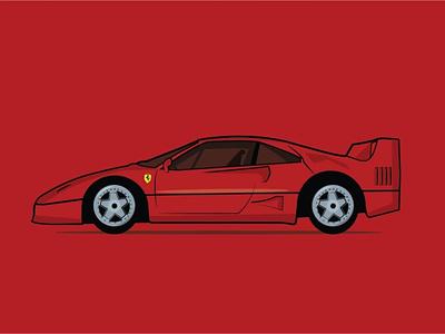 Old Ferrari vector illustrator art illustration flat design colours colour palette artist art art board